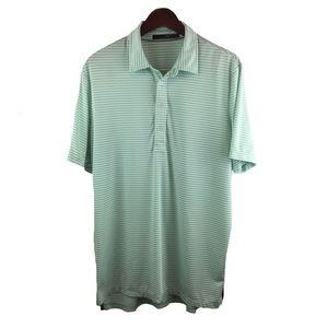 RLX Ralph Lauren Green White Stripe Polo Size L